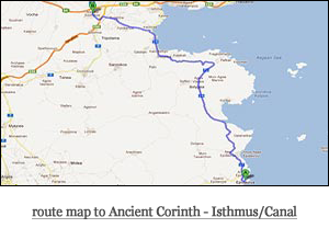 route map to Ancient Corinth - Isthmus/Canal