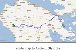 route map to Ancient Olympia