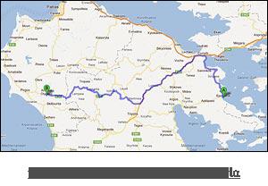 χάρτης διαδρομής προς Αρχαία Ολυμπία