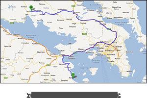 χάρτης διαδρομής προς Δελφούς