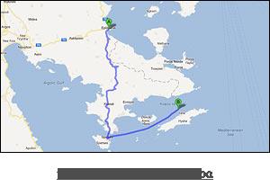χάρτης διαδρομής προς Ύδρα