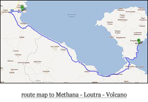route map to Methana - Loutra - Volcano