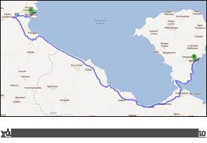 χάρτης διαδρομής προς Μέθανα - Λουτρά - Ηφαίστειο