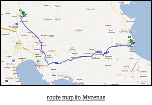 route map to Mycenae