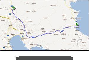 χάρτης διαδρομής προς Μυκήνες