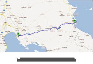 χάρτης διαδρομής προς Ναύπλιο