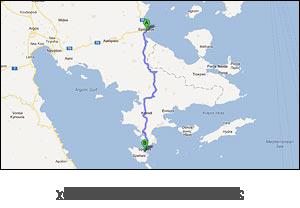 χάρτης διαδρομής προς Σπέτσες