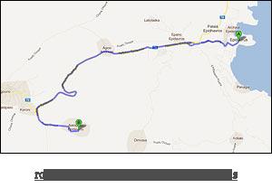 route map to Ancient Theatre of Epidaurus