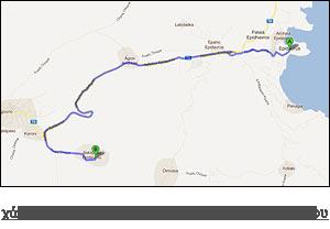 χάρτης διαδρομής προς Αρχαίο Θέατρο Επιδαύρου